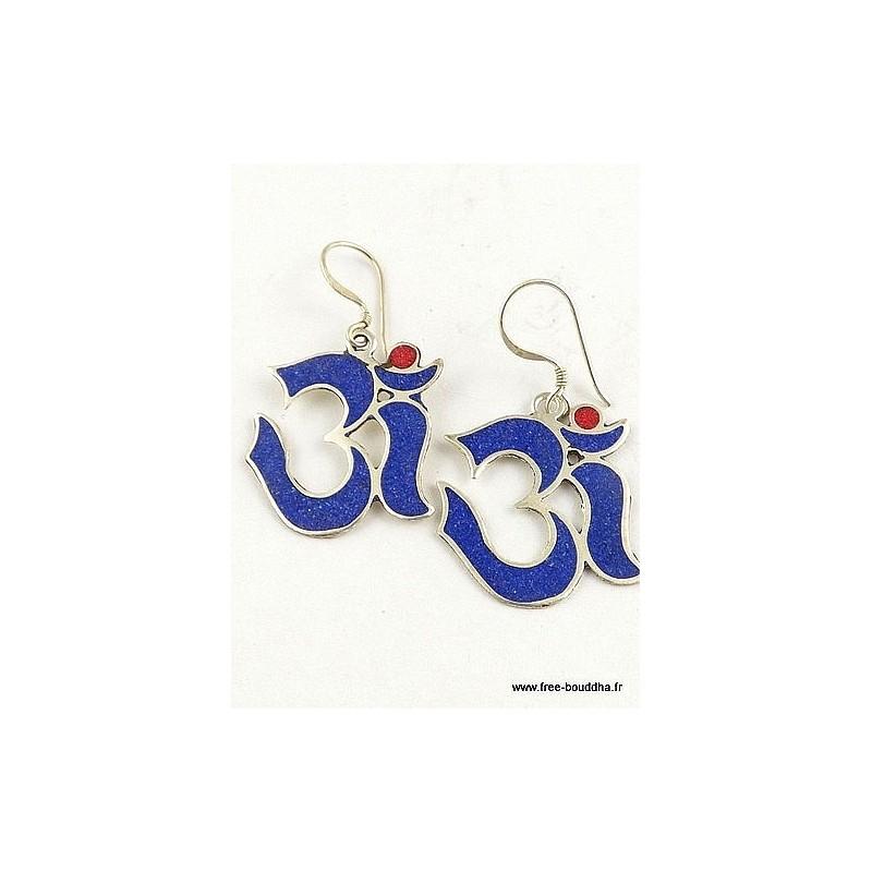 Boucles d'oreilles Om tibétain en lapis lazuli Bijoux tibetains bouddhistes  ABN7.1