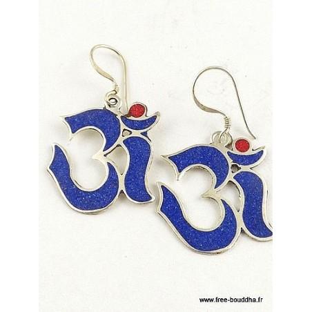 Boucles d'oreilles Om tibétain en lapis lazuli