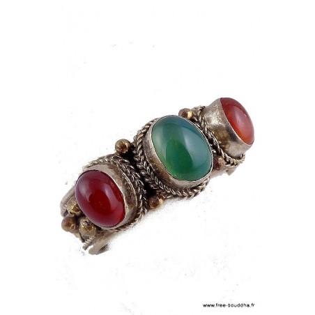 Bague tibétaine Onyx vert et Cornaline t 62+