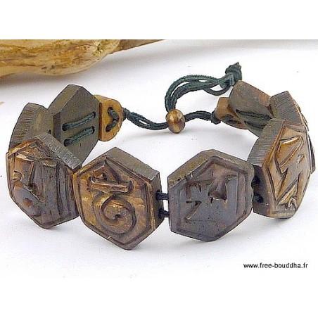 Bracelet tibétain Mantra en os sculpté