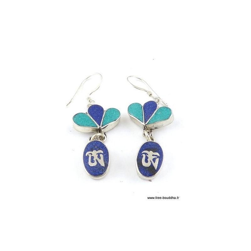 Boucles d'oreilles pendantes Om lapis lazuli turquoise Bijoux tibetains bouddhistes  ABN10.3