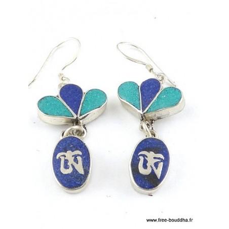 Boucles d'oreilles pendantes Om lapis lazuli turquoise