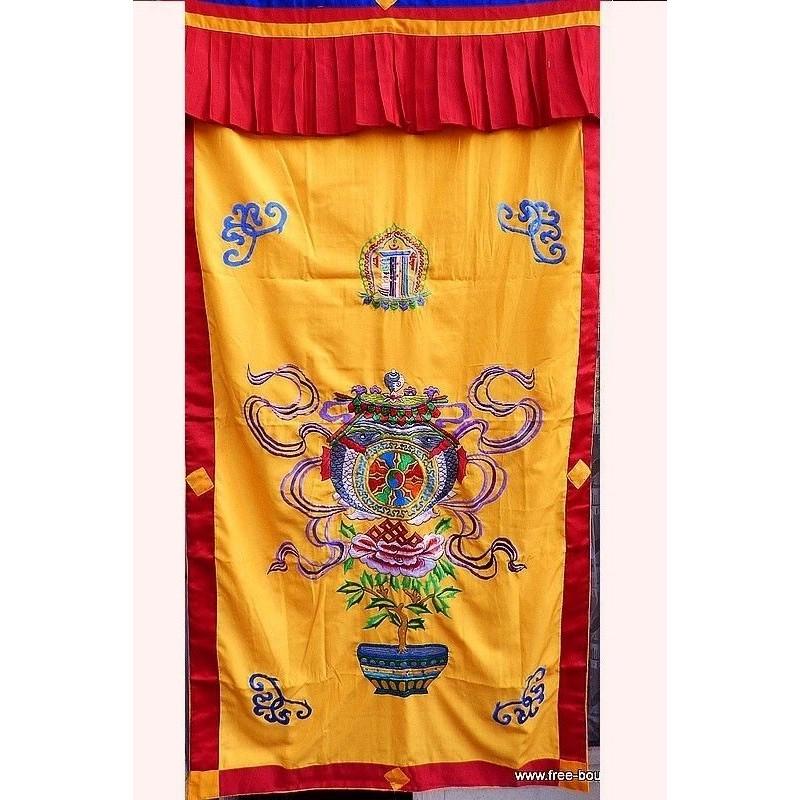 Tenture tibétaine bouddhiste Vase au Trésors TEN LB17