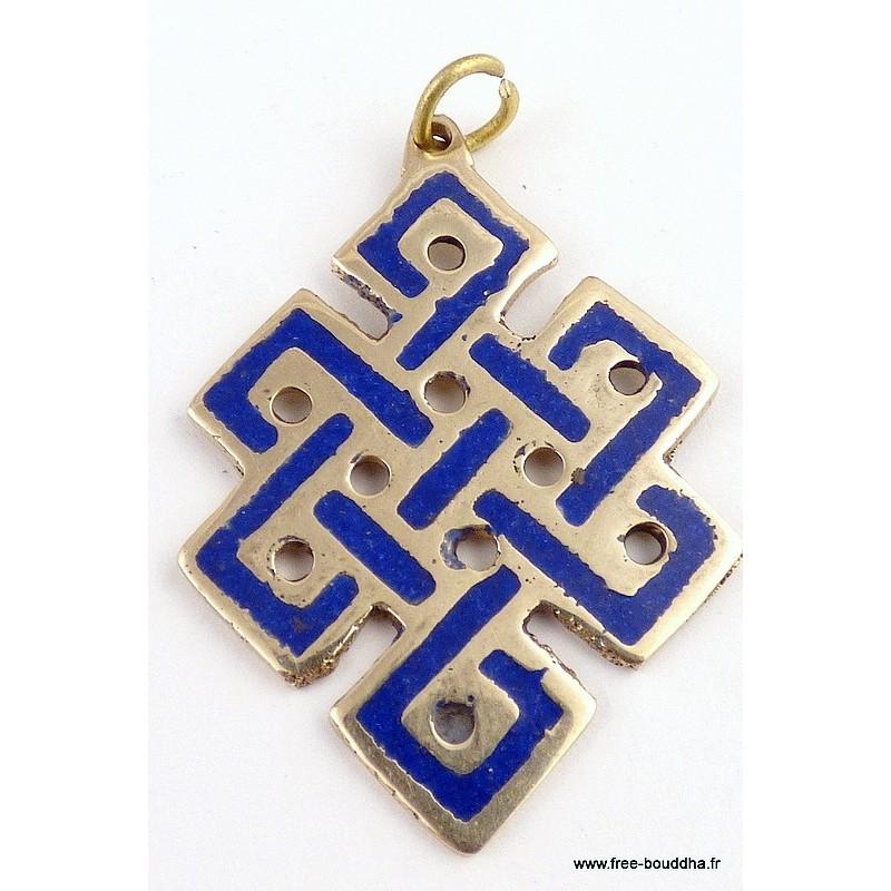 Pendentif Noeud sans fin en lapis lazuli Pendentifs tibétains bouddhistes ref 3505