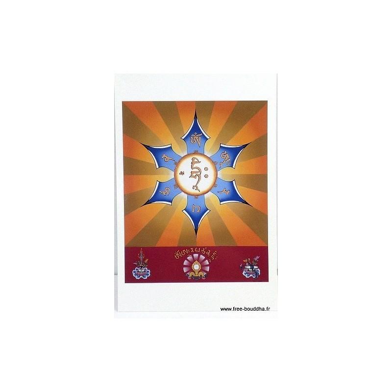 Carte postale bouddhiste MANTRA DE MANJUSHRI CPB21