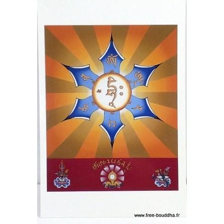 Carte postale bouddhiste MANTRA DE MANJUSHRI