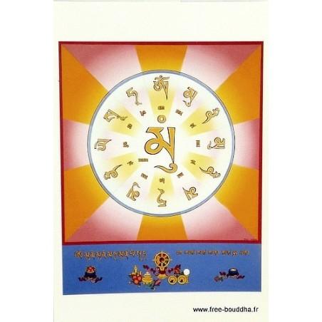 Carte postale bouddhiste MANTRA DU BOUDDHA