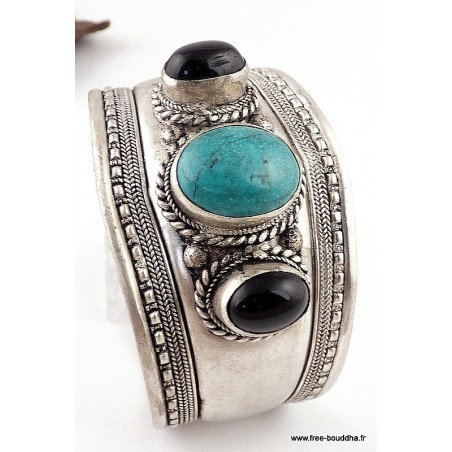 Bracelet tibétain TURQUOISE ONYX