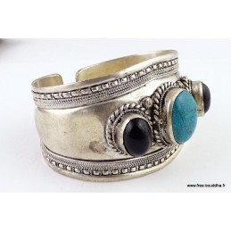 Bracelet tibétain TURQUOISE ONYX Bijoux tibetains bouddhistes  ref 03.1