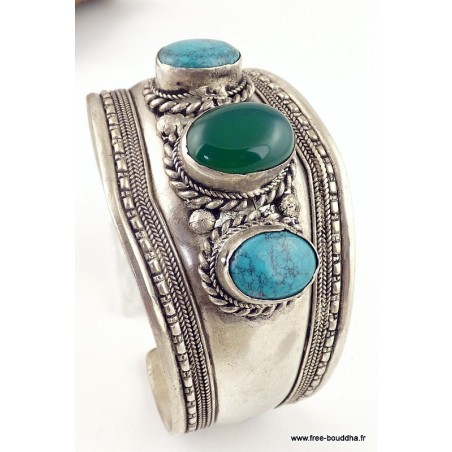 Bracelet tibétain ONYX VERT TURQUOISE