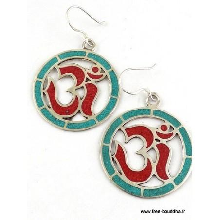 Boucles d'oreilles tibétaines créoles corail turquoise