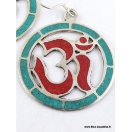 Boucles d'oreilles tibétaines créoles corail turquoise Bijoux tibetains bouddhistes  ABN9