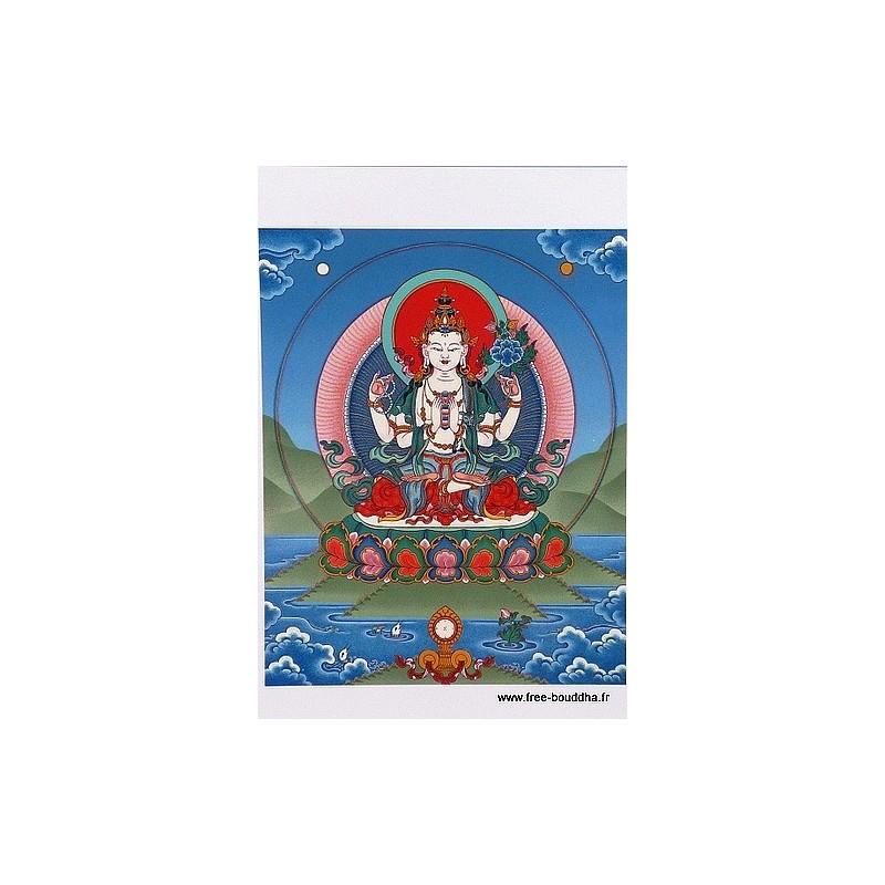 Carte postale bouddhiste CHENREZI 4 BRAS CPB4