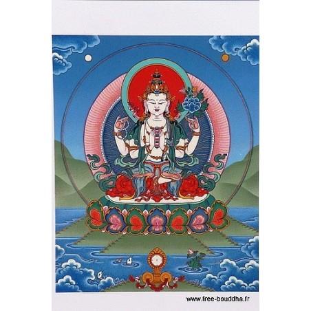 Carte postale bouddhiste CHENREZI 4 BRAS