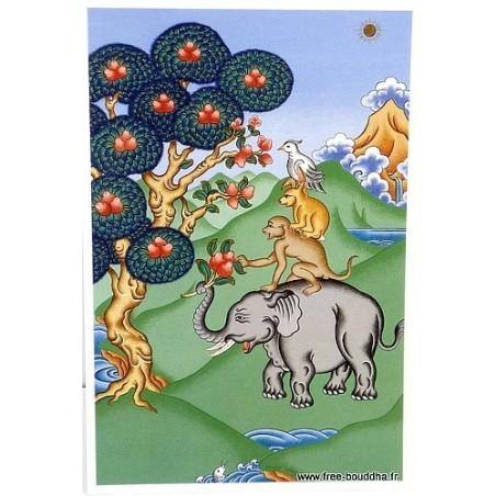 Carte postale bouddhiste QUATRE AMIS