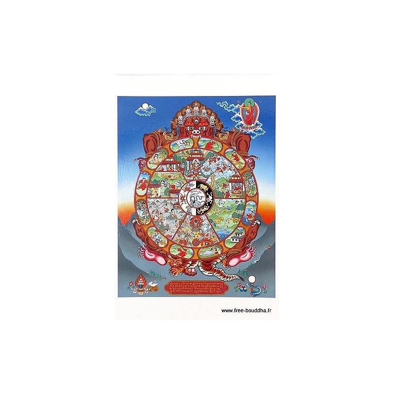 Carte postale bouddhiste ROUE DE LA VIE CPB35