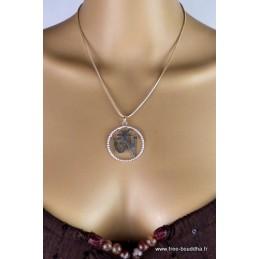 Pendentif Om tibétain métal blanc Bijoux tibetains bouddhistes  ref 2339