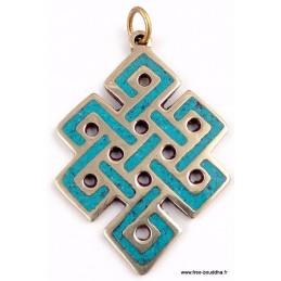 Pendentif Noeud sans fin en turquoise Pendentifs tibétains bouddhistes ref 3505.2