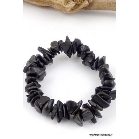 Bracelet perles chips AGATE NOIRE