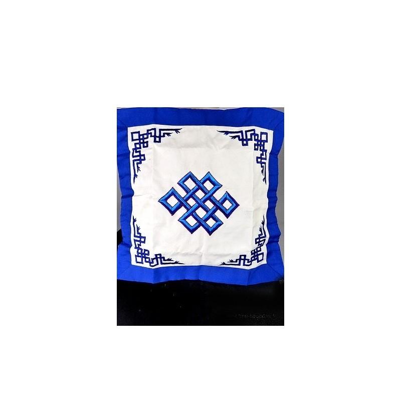 Housse de coussin brodé bleu NOEUD SANS FIN HC4