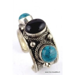 Bague tibétaine TURQUOISE ONYX REF 40A