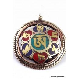 Pendentif tibétain réversible OM KALACHAKRA Bijoux tibetains bouddhistes  BHP43.2