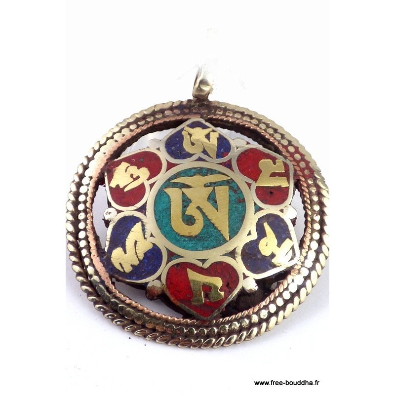 Pendentif tibétain réversible OM KALACHAKRA BHP43.2