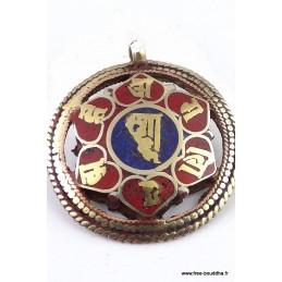 Pendentif tibétain réversible symbole KALACHAKRA Bijoux tibetains bouddhistes  BHP43.1