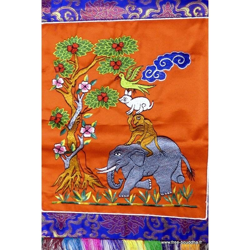 Tenture tibétaine Quatre Amis couleur orange QUAT5