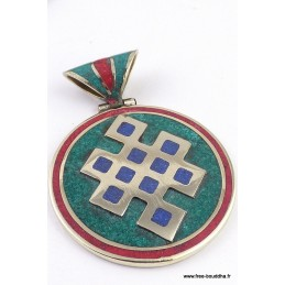 Grand pendentif tibétain turquoise Noeud Infini