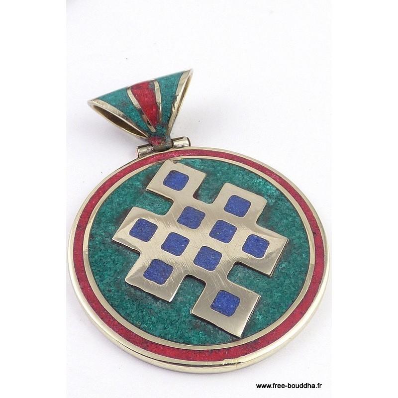 Grand pendentif tibétain NOEUD SANS FIN BHP42.3