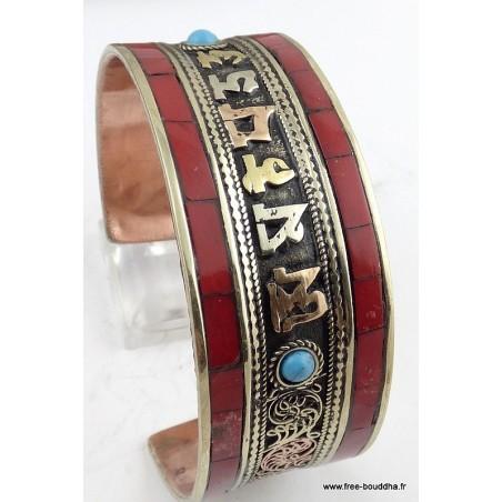 Bracelet tibétain mantra CORAIL