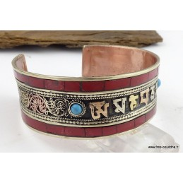 Bracelet tibétain mantra CORAIL Bijoux tibetains bouddhistes  BHB3.1