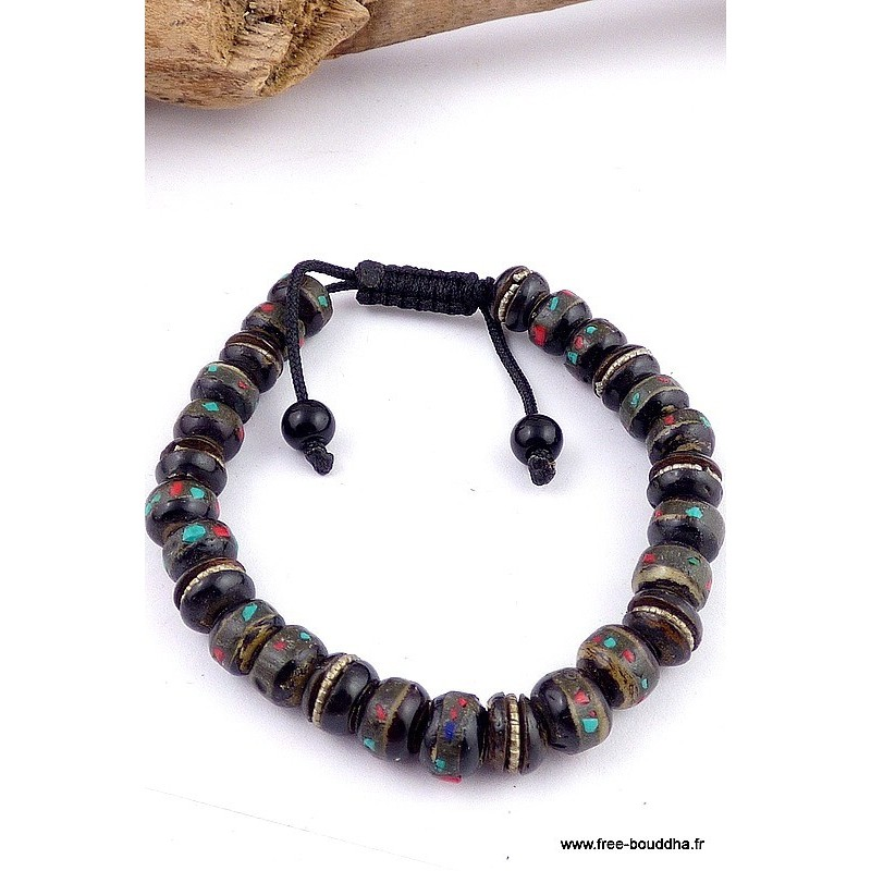 Bracelet mala tibétain OS DE YAK noir Bijoux tibetains bouddhistes  BB22