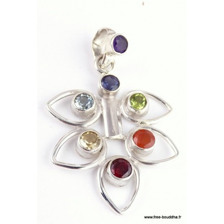 Bijou chakra pendentif FEUILLE 7 PIERRES