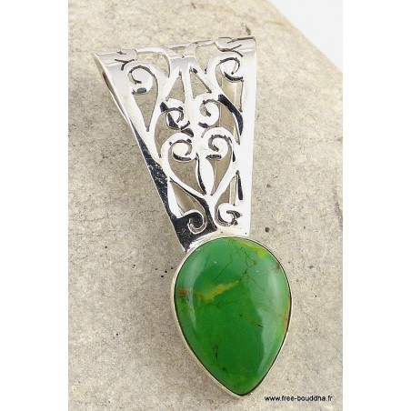 Pendentif argent TURQUOISE MOHAVE VERTE
