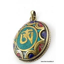 Pendentif orné du Om tibétain couleur turquoise Bijoux tibetains bouddhistes  ABT24.1