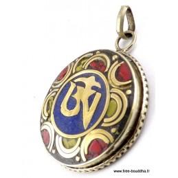 Pendentif orné du Om tibétain couleur lapis lazuli Bijoux tibetains bouddhistes  ABT24