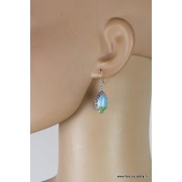Boucles d'oreilles TURQUOISE MOHAVE style vintage Bijoux en Turquoise da97.1