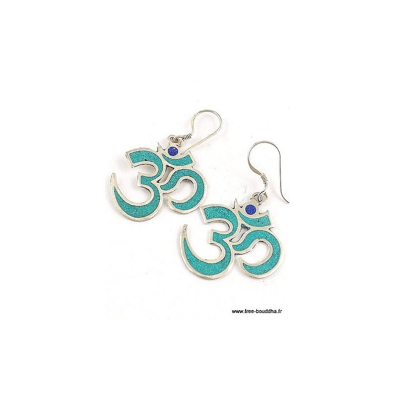 Boucles d'oreilles Om tibétain serties de turquoise Bijoux tibetains bouddhistes  ABN7