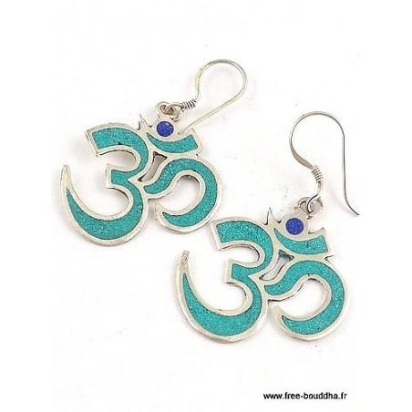 Boucles d'oreilles Om tibétain serties de turquoise