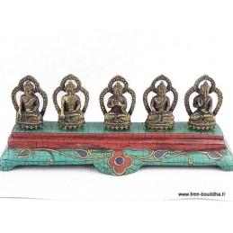 Statuettes Bouddha laiton turquoise DT5B