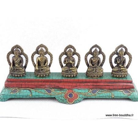 Statuettes Bouddha laiton turquoise