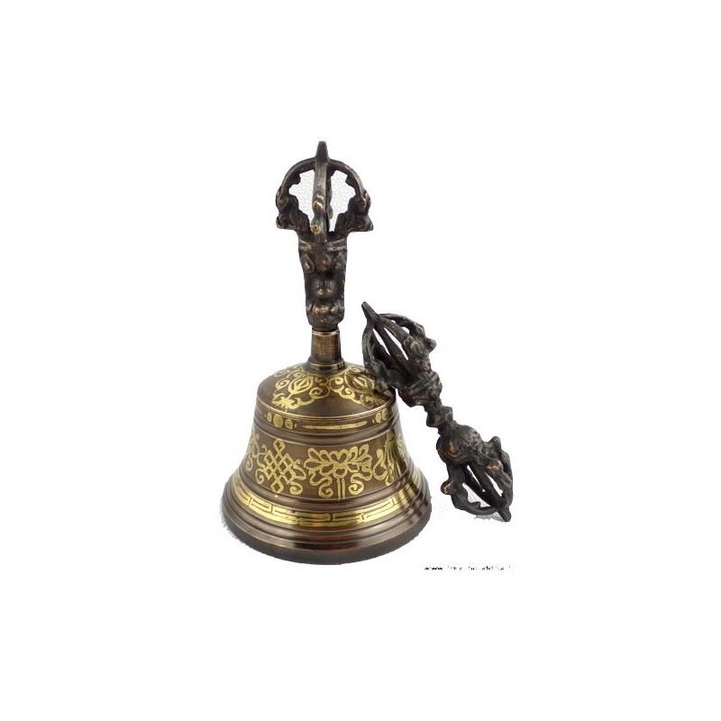 Cloche et dorjé tibétain 15 cm CD14