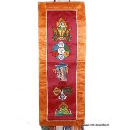 Bannière tibétaine CINQ SYMBOLES couleur bordeau
