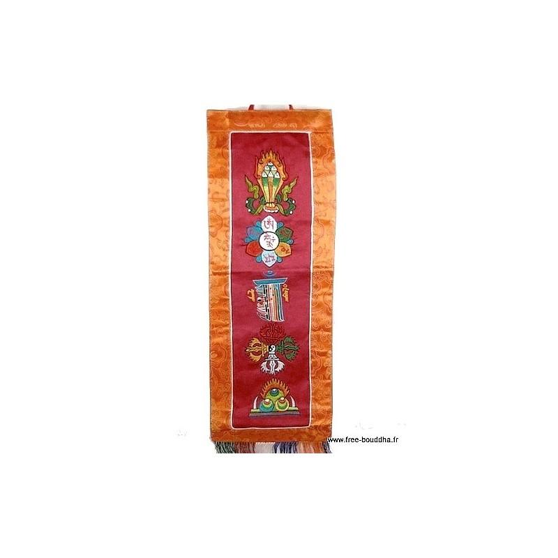 Tenture tibétaine 5 symboles bouddhistes bordeau TENCS6