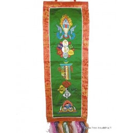 Bannière tibétaine CINQ SYMBOLES