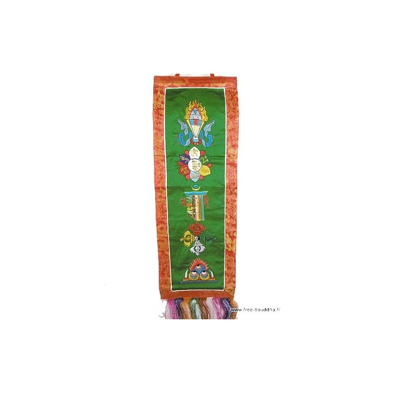 Tenture tibétaine 5 symboles bouddhistes verte TENCS3