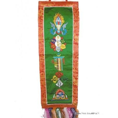 Bannière tibétaine verte CINQ SYMBOLES