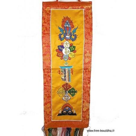 Bannière tibétaine CINQ SYMBOLES couleur safran